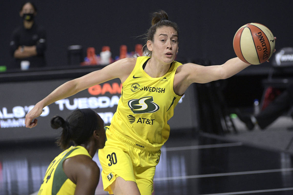 Seattle Storm forward Breanna Stewart (30) saves a ball from going out of bounds by tipping it ...