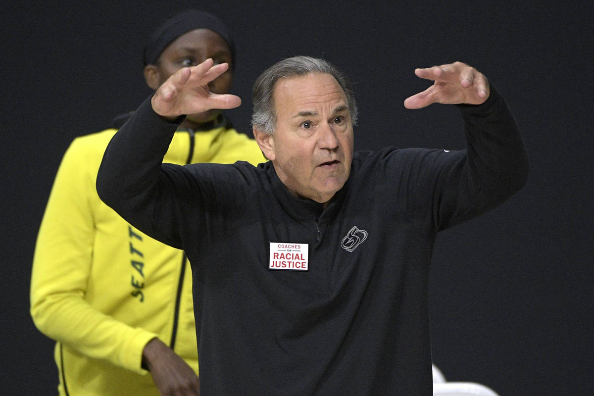 Seattle Storm head coach Gary Kloppenburg reacts to a call by an official during the first half ...