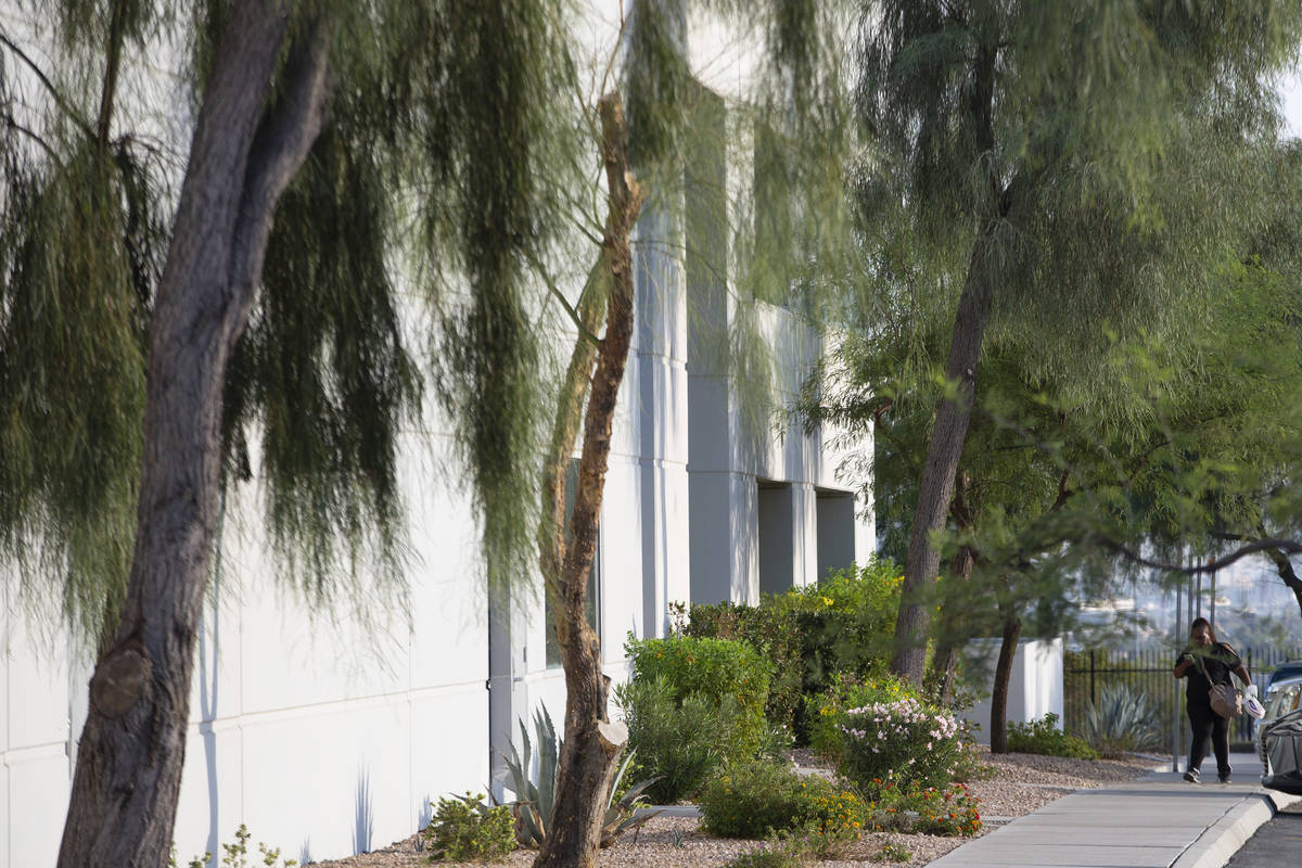 A person walks outside of Spacecraft Components Corp. on Tuesday, Oct. 6, 2020, in Las Vegas. S ...