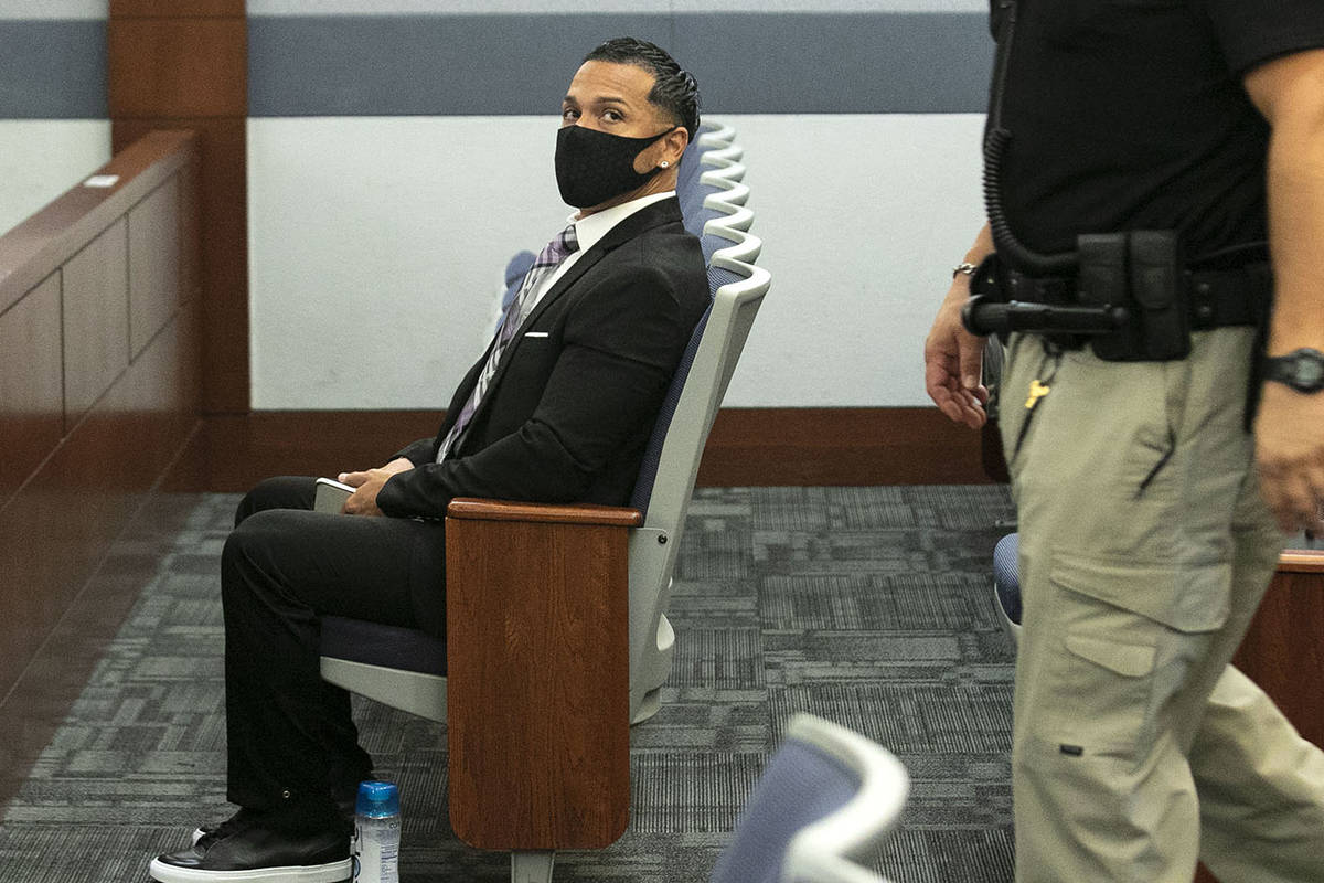 Ernesto Joshua Ramos appears in court at the Regional Justice Center on Wednesday, Oct. 7, 2020 ...