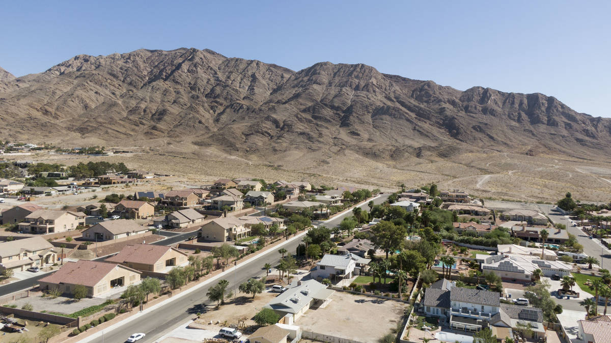 An aerial view of homes near Montana Avenue and Los Feliz Street in Las Vegas on Thursday, Octo ...
