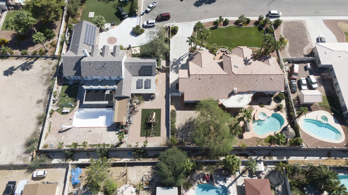 An aerial view of homes near East Charleston Boulevard and Radwick Drive in Las Vegas on Thursd ...