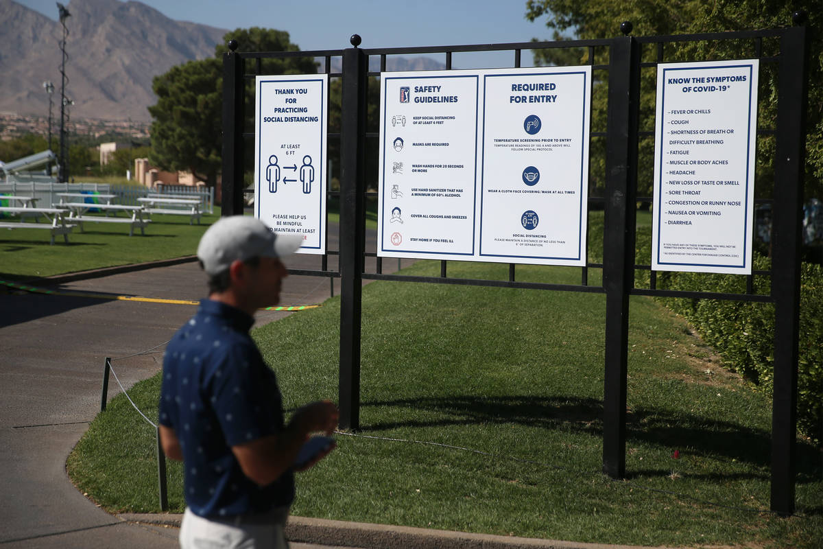 Safety guidelines are seen during the 2020 Shriners Hospitals for Children Open at TPC Summerli ...