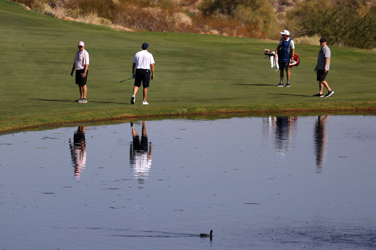 People play the 18th hole during the Pro-Am event in the 2020 Shriners Hospitals for Children O ...