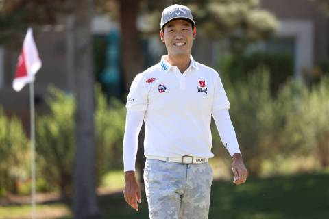 Kevin Na walks off after completing the seventh hole during the Pro-Am event in the 2020 Shrine ...