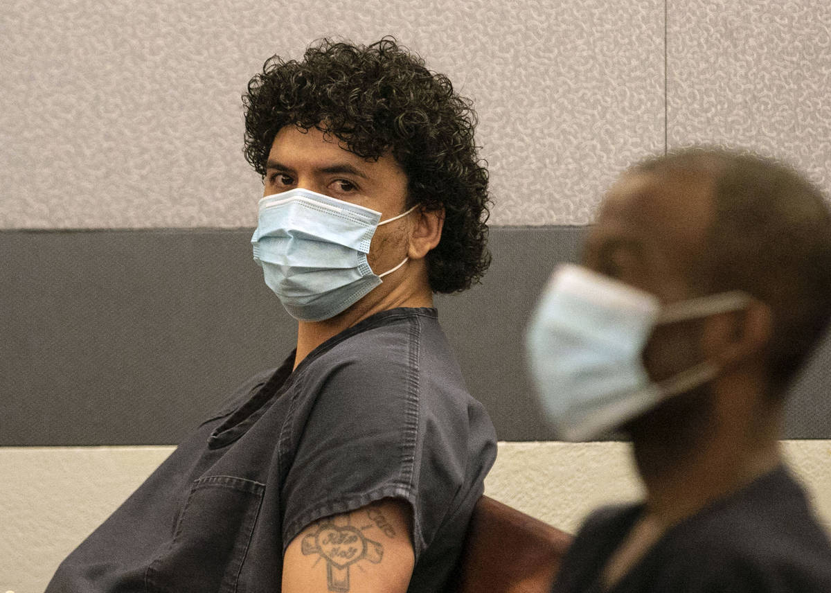 Silvino Hinojosa, left, a former TopGolf sous chef, appears in court during a brief hearing at ...