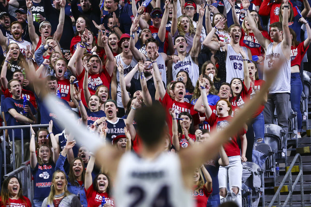 Gonzaga Bulldogs fans cheer during the first half of the West Coast Conference tournament champ ...