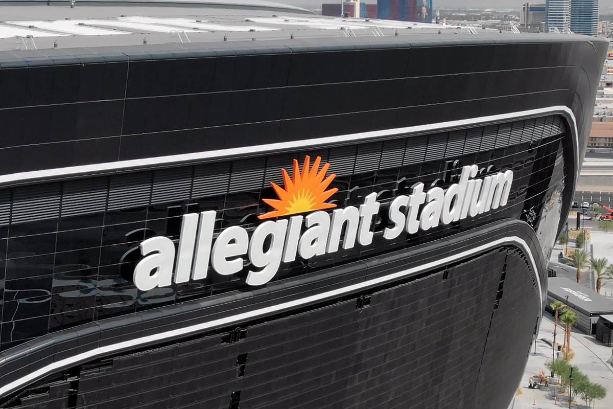 Aerial view of the Allegiant Stadium logo on Wednesday, August 26, 2020. (Michael Quine/Las Veg ...