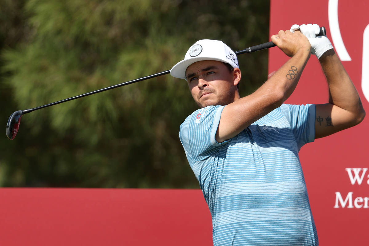 Rickie Fowler tees off at the first hole during the Pro-Am event in the 2020 Shriners Hospitals ...
