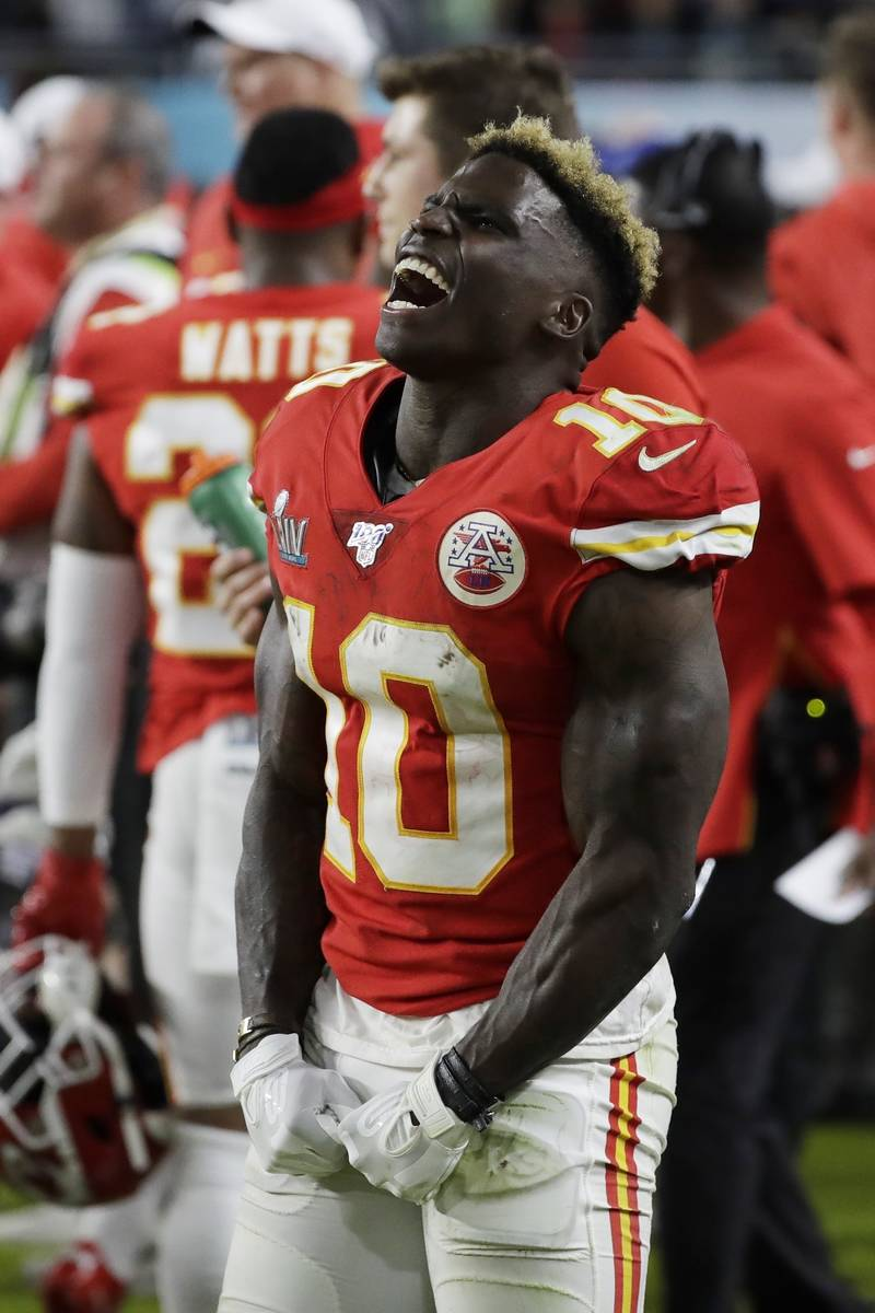 Kansas City Chiefs' Tyreek Hill (10) celebrates during the second half of the NFL Super Bowl 54 ...