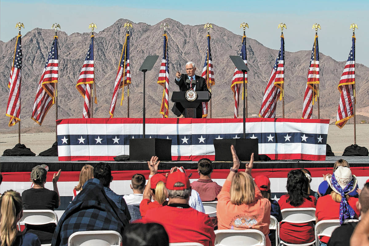Vice President Mike Pence speaks during Make America Great Again event at Boulder City Airport, ...