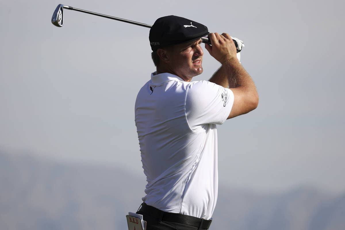 Bryson DeChambeau tees off on the first hole during the first round of the Shriners Hospitals f ...