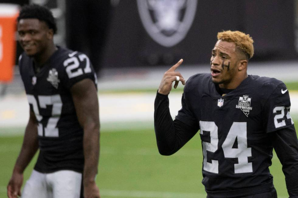 Las Vegas Raiders strong safety Johnathan Abram (24) pumps up the defense during warms up befor ...