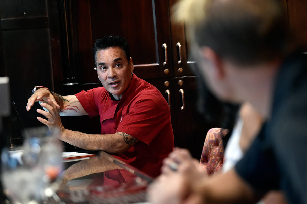 Chef Beni Velazquez speaks with customers at a restaurant at Lake Las Vegas Friday, Sept. 2, 20 ...