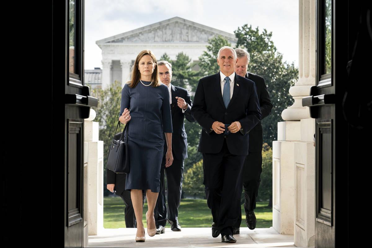 Judge Amy Coney Barrett, President Donald Trump's nominee to the Supreme Court and Vice Preside ...