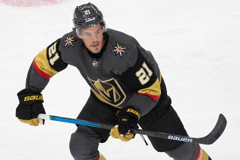 Vegas Golden Knights center Nick Cousins (21) skates up ice in the first period of an NHL hocke ...