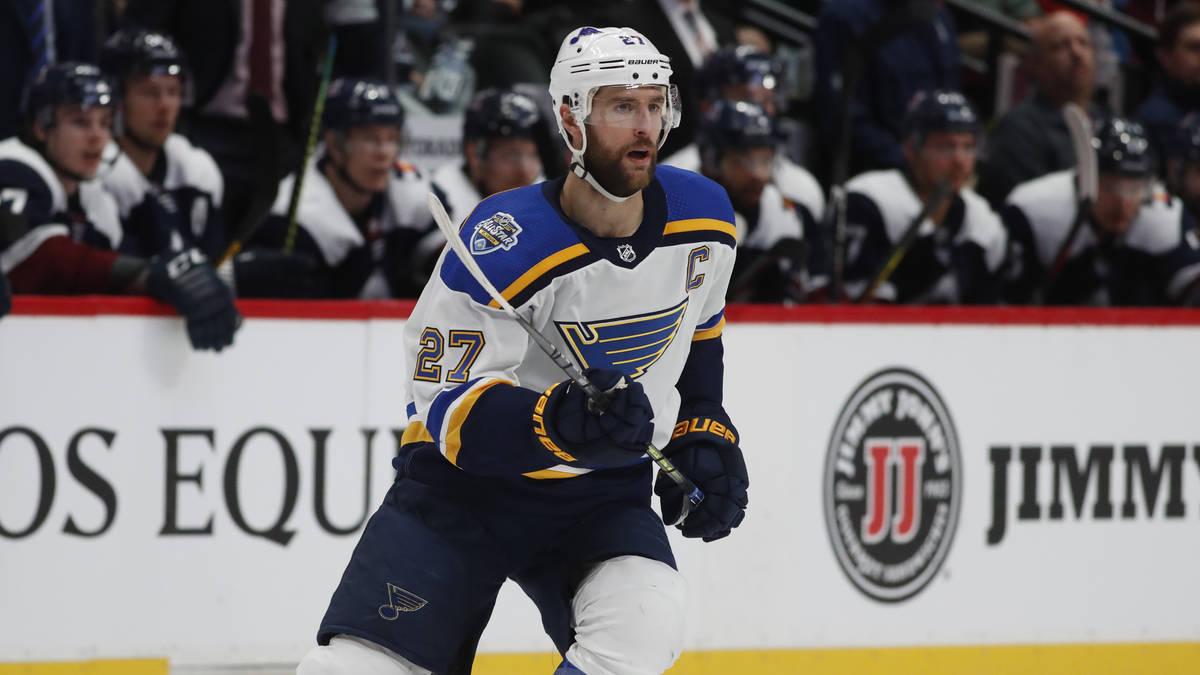 St. Louis Blues defenseman Alex Pietrangelo (27) in the second period of an NHL hockey game Sat ...
