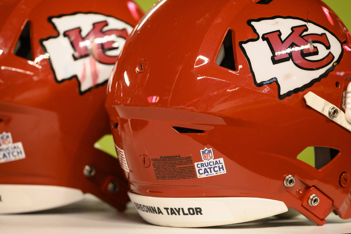 Two Kansas City Chiefs helmets with Breonna Taylor's name on them during the second half of an ...
