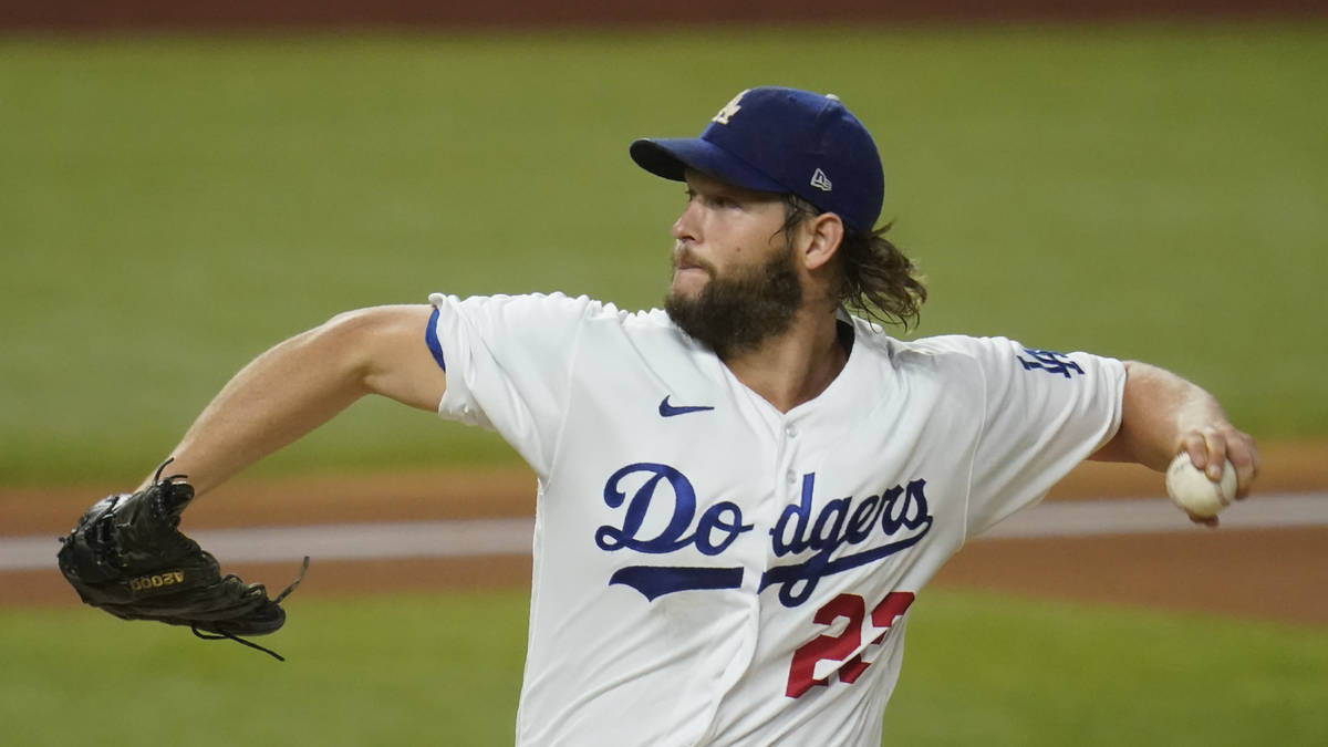 Los Angeles Dodgers pitcher Clayton Kershaw (22) in Game 2 of a baseball National League Divisi ...