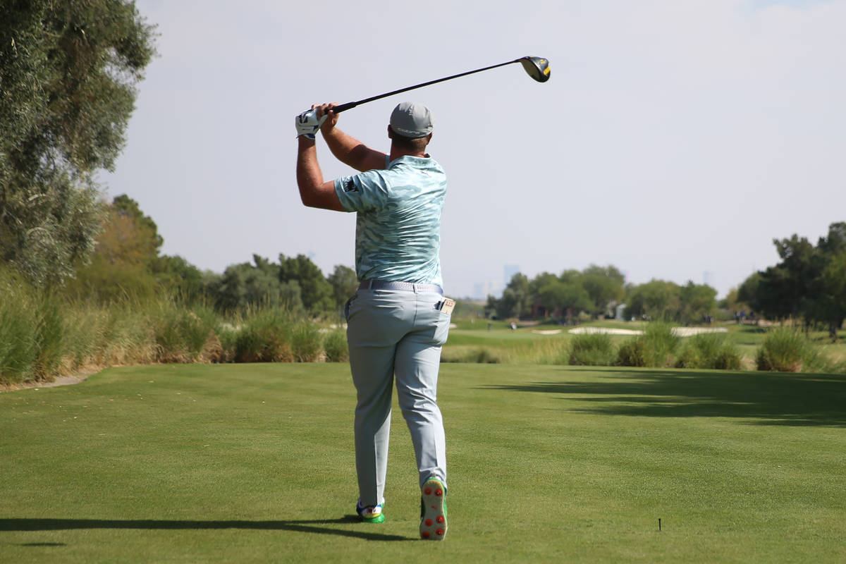 Bryson DeChambeau tees off at the fourth hole during round three of the 2020 Shriners Hospitals ...