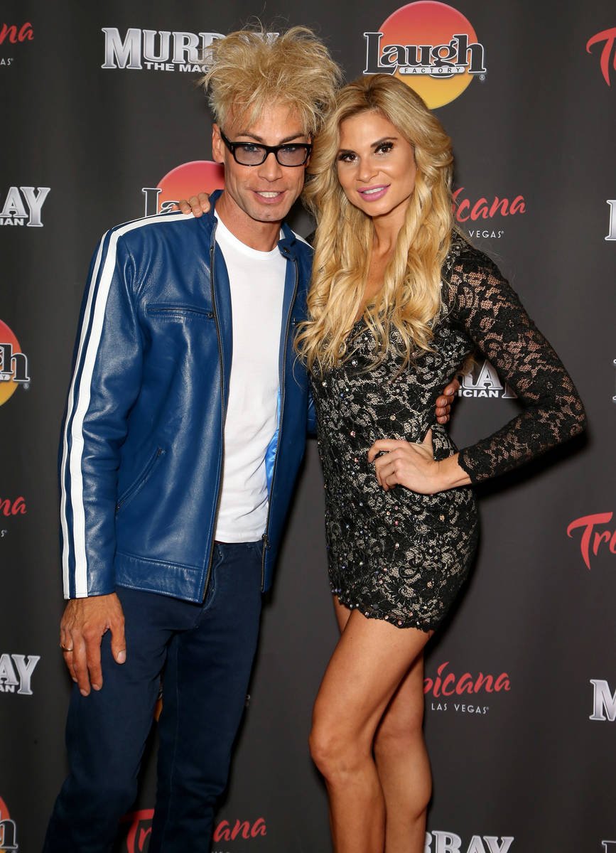 """Magician/comedian Murray SawChuck (L) and dancer Dani Elizabeth attend the opening of """"Murray t ..."""