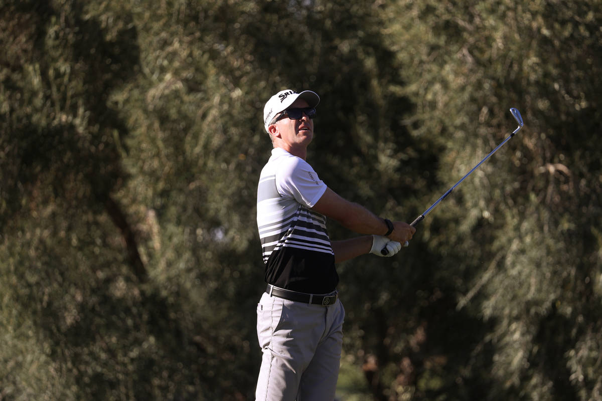 Martin Laird tees off at the 14th hole during round three of the 2020 Shriners Hospitals for Ch ...