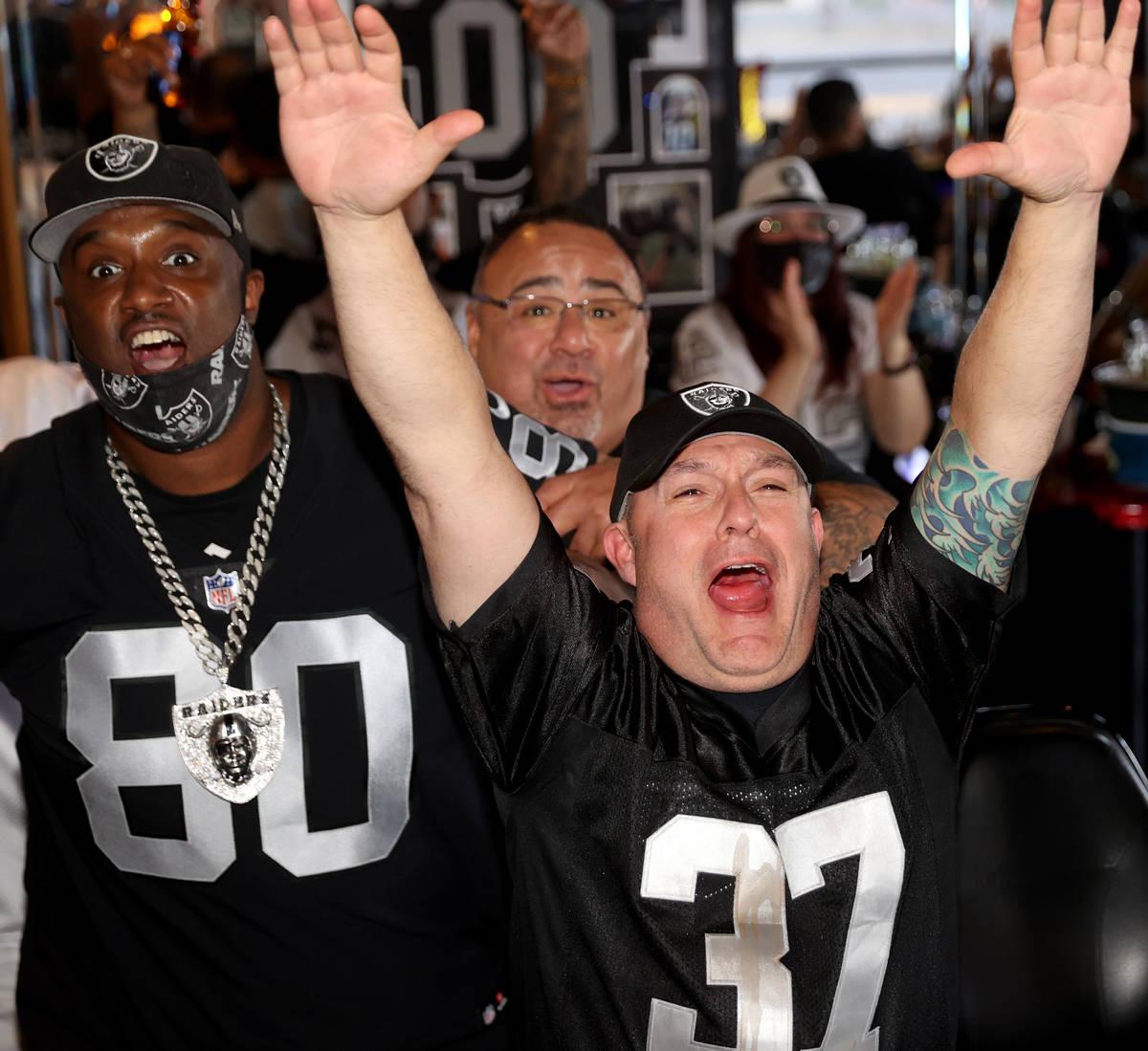 Las Vegas Raiders fans, including from left, Keegan Matthewson of Pittsburg, Calif. Aaron Gonza ...
