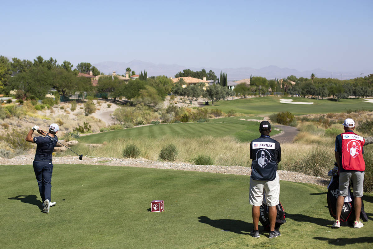 Patrick Cantlay tees off on the seventh hole during the final round of the 2020 Shriners Hospit ...