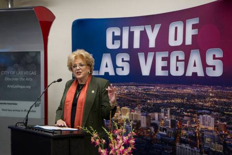 Mayor Carolyn Goodman during a presentation of new technology at Las Vegas City Hall in Las Veg ...