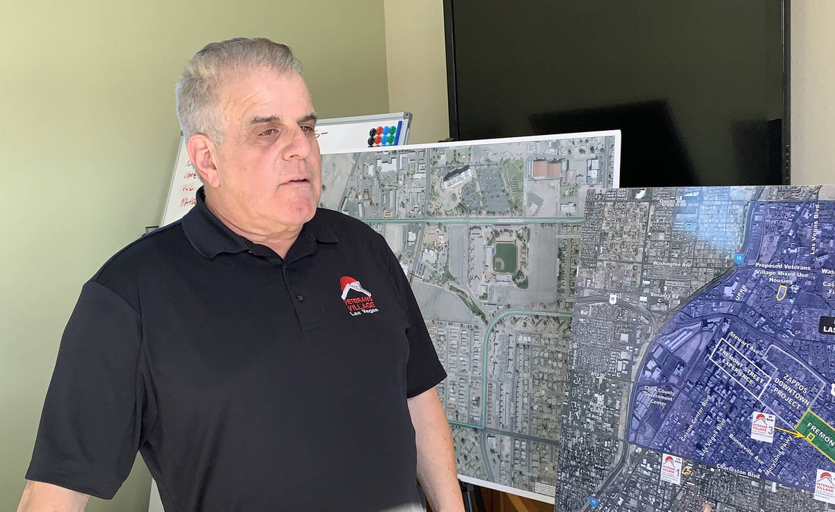 Arnold Stalk of Veterans Village speaks at the unveiling of a new tiny home model on Tuesday, D ...