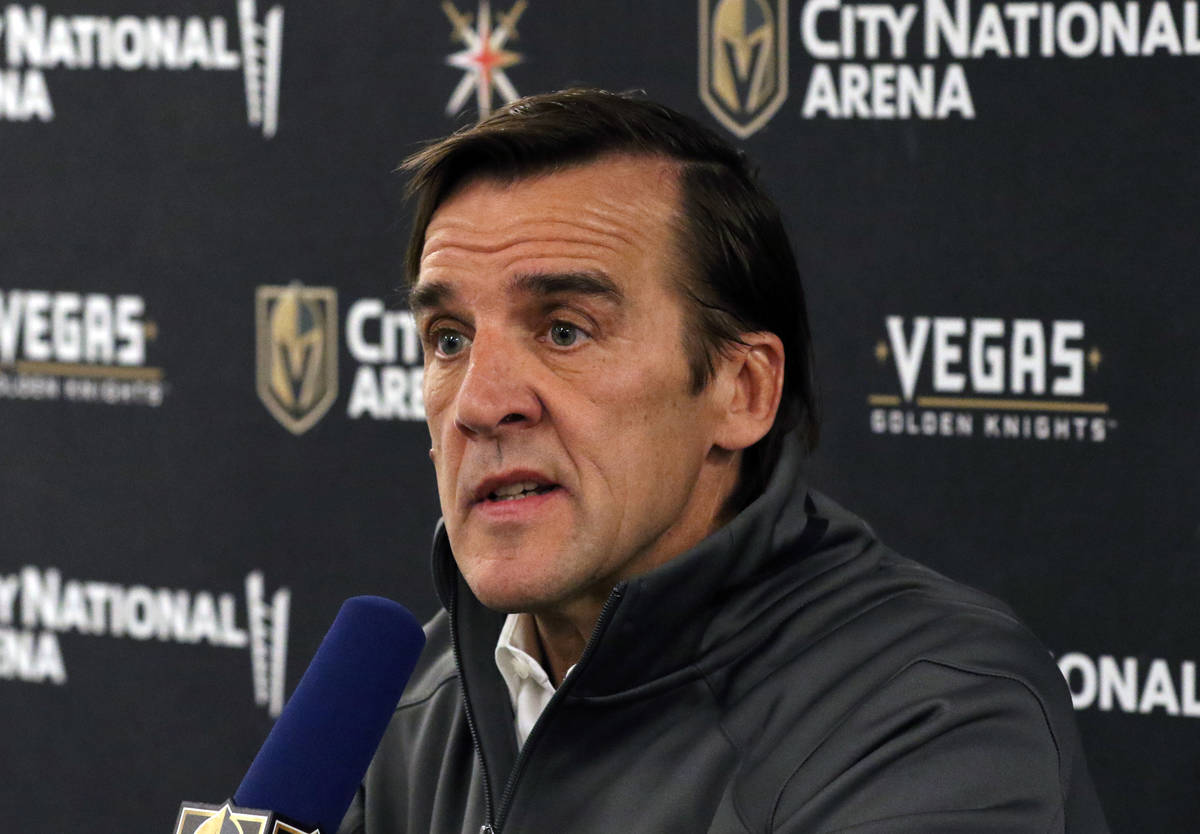 Golden Knights general manager George McPhee addresses the media at City National Arena on Thur ...