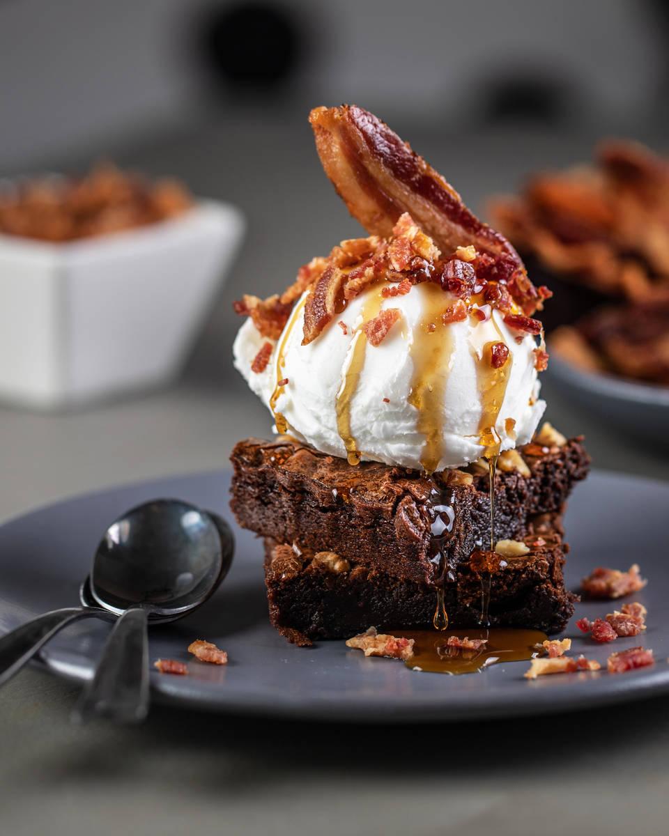 Bacon ice cream on a warm bacon brownie at Slater's 50/50 on Silverado Ranch Boulevard in Las V ...