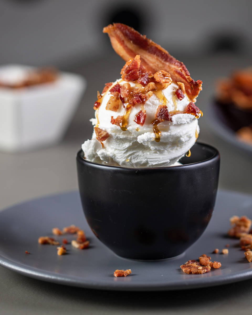 A bacon ice cream sundae from Slater's 50/50 on Silverado Ranch Boulevard in Las Vegas. (Slater ...