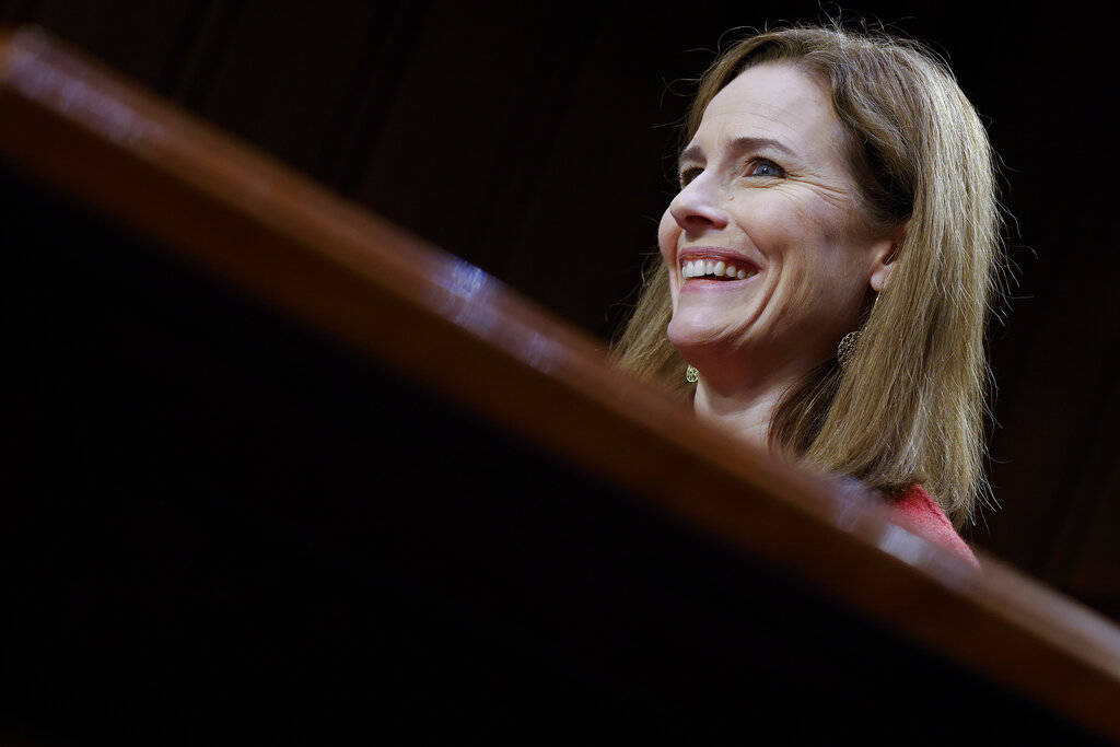 Supreme Court nominee Amy Coney Barrett speaks during the second day of her confirmation hearin ...