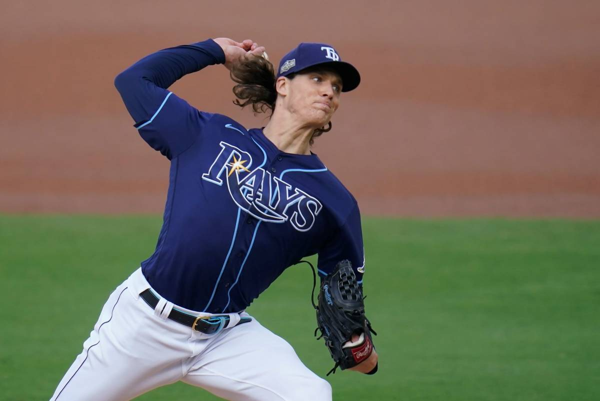 Tampa Bay Rays starting pitcher Tyler Glasnow throws during the first inning in Game 5 of the b ...