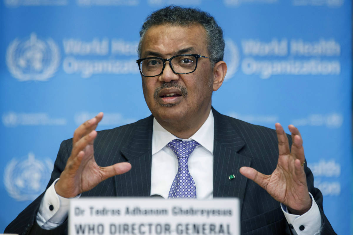 In this Monday, March 9, 2020 file photo, Tedros Adhanom Ghebreyesus, Director General of the W ...