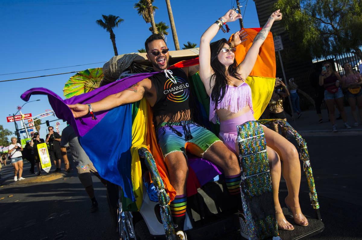 Actor Jai Rodriguez, left, and singer Mikalah Gordon, lead the pride parade as grand marshals d ...