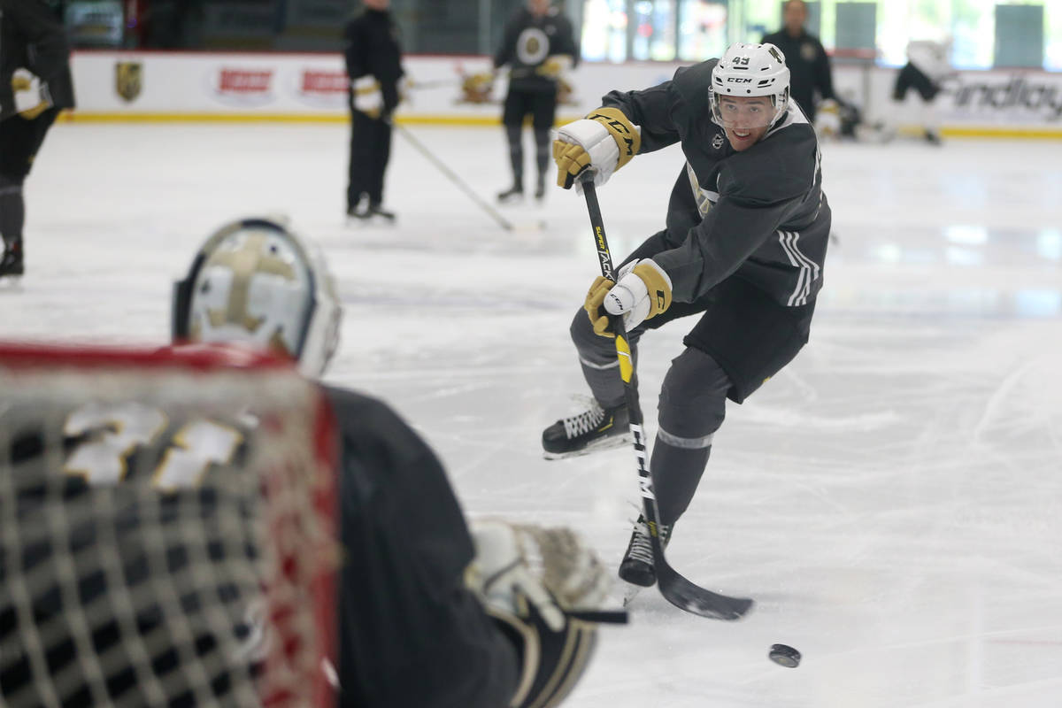 Vegas Golden Knights Peter Diliberatore (49) takes a shot during development camp at City Natio ...