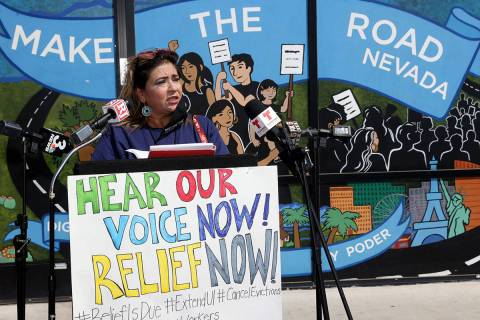 Maria Castillo, of Las Vegas, speaks at Make the Road Nevada offices before a car caravan in La ...