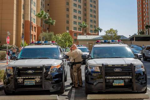 Metropolitan Police Department conducts a homicide investigation in the south central Las Vegas ...