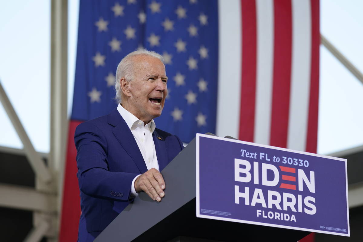 Democratic presidential candidate former Vice President Joe Biden speaks at Miramar Regional Pa ...