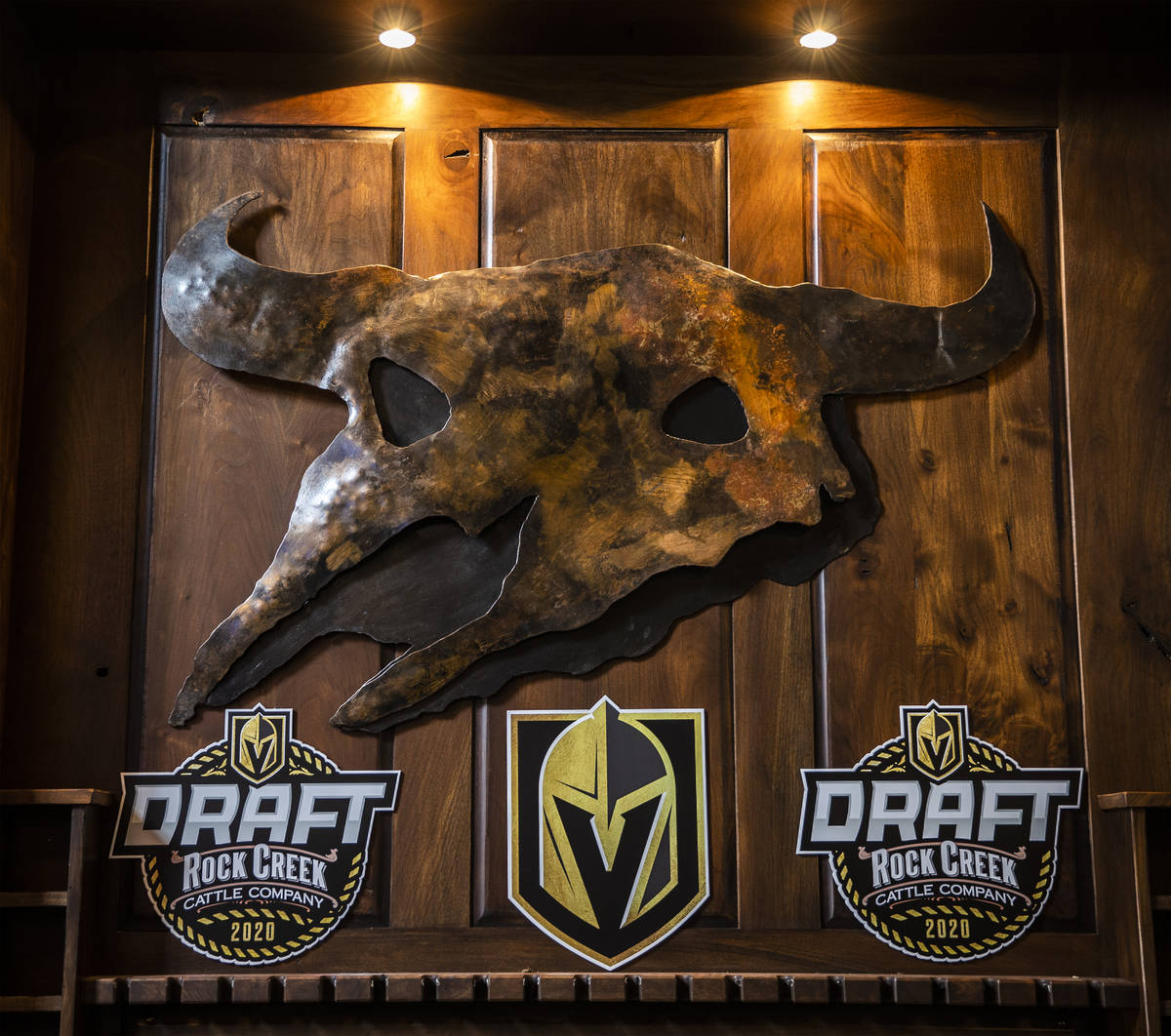 Signage for the Golden Knights NHL draft that took place at Rock Creek Cattle Company on Friday ...