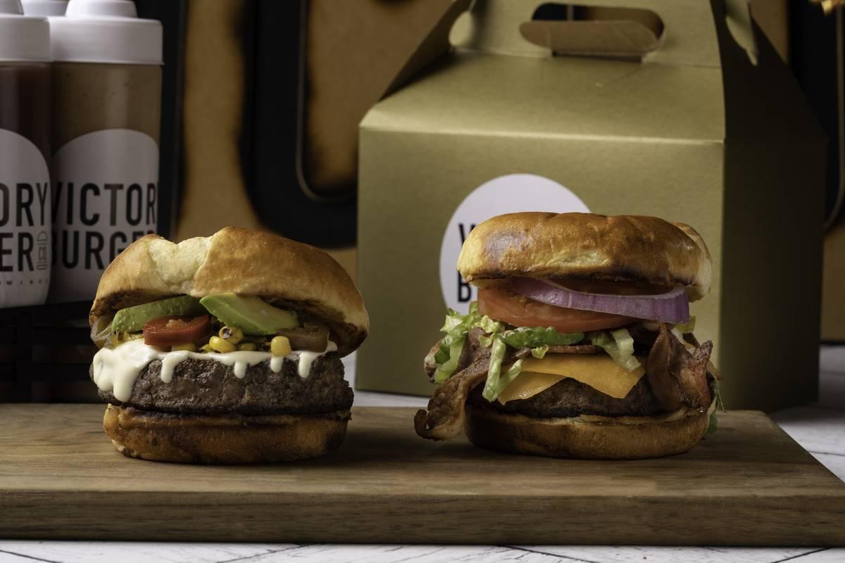 Victory Burger's Victory Loco Burger, left, and Victory Burger. (Mark Mediana)