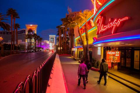 The Las Vegas Strip is largely empty after Gov. Steve Sisolak ordered a mandatory shutdown of m ...