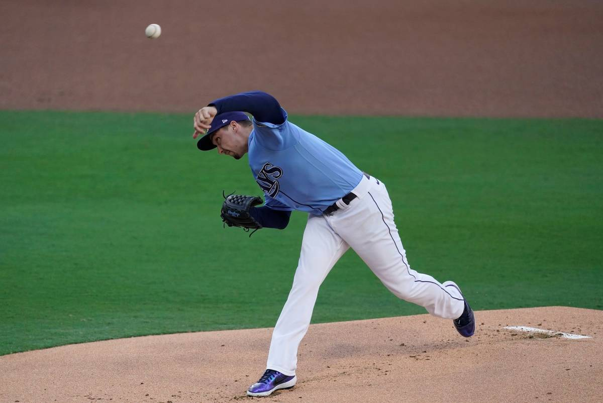 Tampa Bay Rays starting pitcher Blake Snell throws during the inning in Game 1 of a baseball Am ...