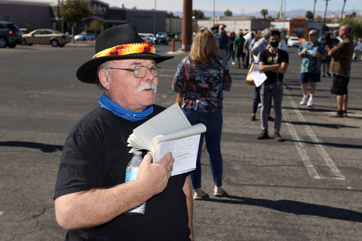 Patrick Lear waits in line to cast his vote at the Galleria at Sunset polling location in Hende ...