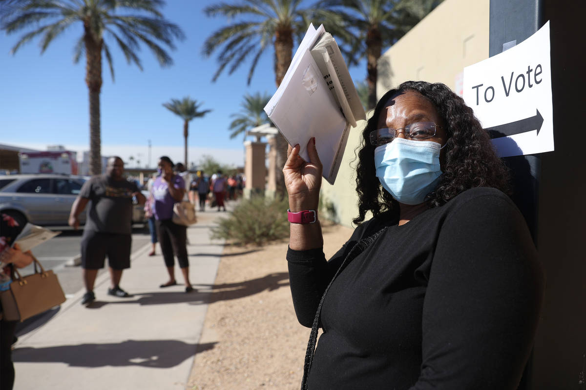 Denise Batts of Las Vegas waits in line to cast her vote at the East Las Vegas Community Center ...