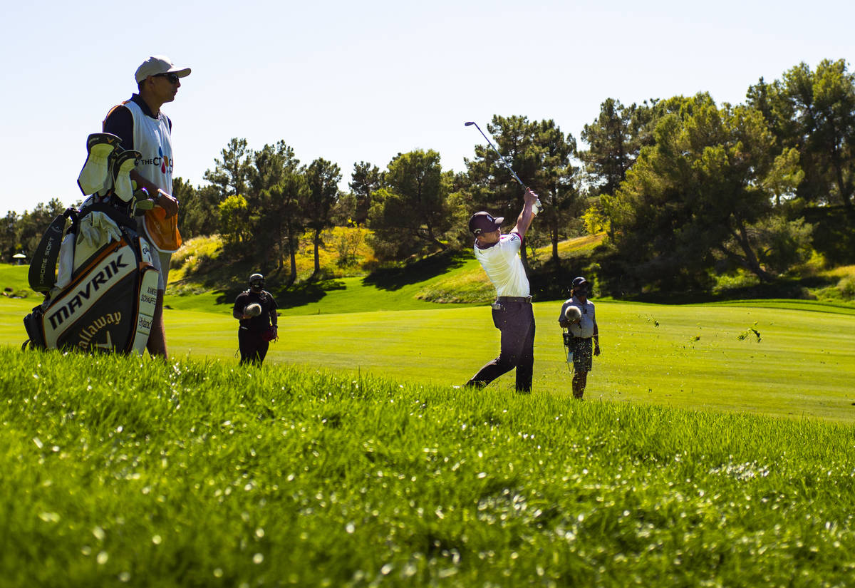 Xander Schauffele hits a fairway shot at the first hole during the second round of the CJ Cup a ...