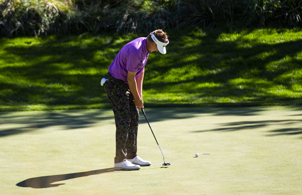 Ian Poulter putts on the 10th green during the second round of the CJ Cup at the Shadow Creek G ...