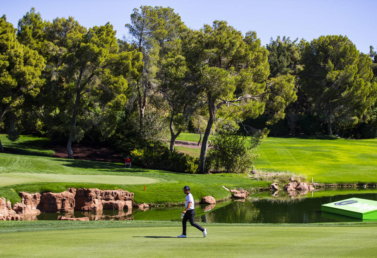 Xander Schauffele walks to the 18th green during the second round of the CJ Cup at the Shadow C ...